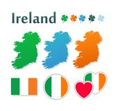 Set of icons with flags and map of Ireland Royalty Free Stock Photos