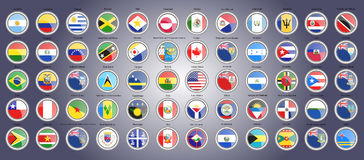 Set of icons. Flags of North, South and Central America. Royalty Free Stock Images
