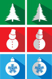 Set of icons on a flat Christmas Royalty Free Stock Photo