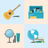 Set icons, flat design, beauty, toolbox, studies, music Royalty Free Stock Photos