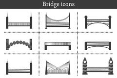 Set of icons in flat style on bridges theme. City Royalty Free Stock Images