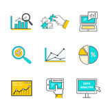 Set of Icons Flat Style Data Analysis. Information optimization, trend development, idea and strategy, financial growth, infographic seo, process finance Stock Photos