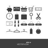 Set icons in flat style isolated on white background. Set icons on the topic of shopping in flat style isolated on white background. Set symbols for your design Royalty Free Stock Image