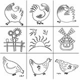Icons Poultry Yard-03. Set of icons in a flat style of lines, silhouettes of cocks, chicks, swallows, birds, butterflies, sunflowers. Monochrome. Agricultural Royalty Free Stock Image