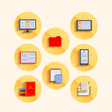Set of icons in the flat style, Soup, gadgets Royalty Free Stock Photos