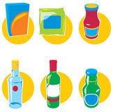 Set of icons with food and drinks Stock Images