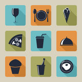 Set of icons with food and drinks, Stock Images