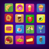 Set of icons with food and drinks for restaurant or commercial. colorful vector illustration Royalty Free Stock Photos