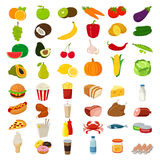 Set of icons with food and drinks for restaurant or commercial. Vector Stock Photos