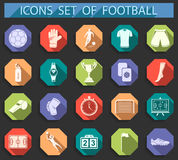 Set of  icons of football in flat style. Set of  icons, logos and symbols of football. Silhouettes of soccer equipment and uniforms of players in flat style Royalty Free Stock Photo