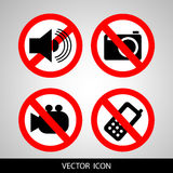 Set of icons forbidding. Do not call, do not take pictures, do not make noise. Stock Photography