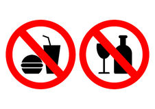 Set of icons forbidding food Royalty Free Stock Image