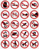 Set of icons forbidding. Set of icons with prohibiting different designations Royalty Free Stock Photography