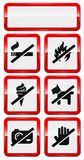 Set of icons forbidding smoking, fire, dog etc. Set of icons forbidding smoking, fire, dog, ice-cream, photo, hand touch Stock Images