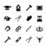 Set icons of forge. Isolated on white vector illustration