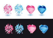 Set of icons in form heart. Set from icons-hearts to valentinesday on a white and black background Royalty Free Stock Photo