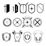 Set of icons. Set of icons in the form of shields, chevrons, heraldry Royalty Free Stock Image