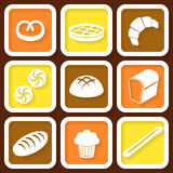 Set of 9 icons of fresh bread and pastry Royalty Free Stock Photos