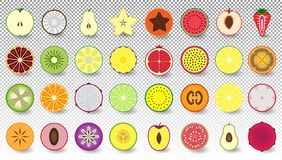 Set of icons fresh and colorful fruits and berries cut in half, isolated royalty free illustration