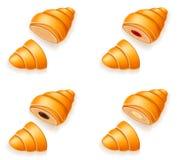 Set icons of fresh crispy croissants with jam chocolate and crea Royalty Free Stock Photo