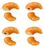 Set icons of fresh crispy croissants with jam chocolate Royalty Free Stock Photography