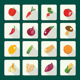 Set icons of fresh and healthy food. Royalty Free Stock Photography