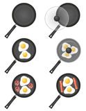 Set icons fried eggs in a frying pan vector illustration Royalty Free Stock Image