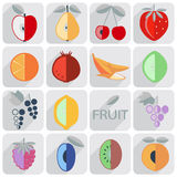 Set of icons, fruit, flat style Stock Images