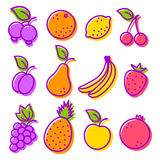 Set icons fruit Royalty Free Stock Photography