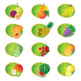 Set of icons with fruits. Royalty Free Stock Photo