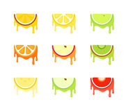 Set of Icons of Fruits. Vector symbols isolated on white background stock illustration