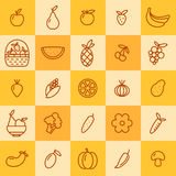 Set of icons of fruits and vegetables Stock Image