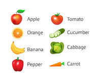 Set of Icons with Fruits and Vegetables. Isolated on white background. Vector Illustrations with captions in style colorful design royalty free illustration