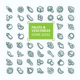 Set of icons of fruits and vegetables in the style of a thin line, editable stroke. 32x 32 perfect pixel Stock Photo