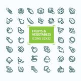 Set of icons of fruits and vegetables in the style of a thin line, stroke. 32x 32 perfect pixel stock illustration