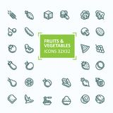 Set of icons of fruits and vegetables in the style of a thin line,  stroke. 32x 32 perfect pixel Stock Photos