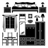 Set of icons of furniture Stock Photo