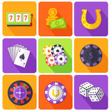 Set of Icons Gambling Games Flat Style Royalty Free Stock Image