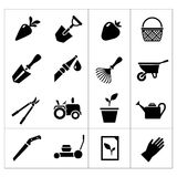 Set icons of garden. Isolated on white Royalty Free Stock Images