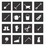 Set of icons on garden tools theme Stock Photography