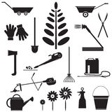 Set  Icons of Garden Tools. Stock Photo