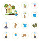 Set of icons with garden tools Royalty Free Stock Photos
