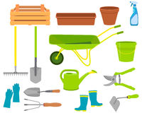Set of icons garden tools Stock Photos