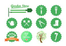 Set of Icons for Garden Website Stock Photos