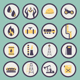 Set of icons of the gas and oil industry Royalty Free Stock Photo