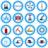 Set icons gas production industry Royalty Free Stock Image