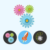 Set icons with gears, rocket , volume control , vector illustration Stock Image
