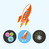 Set icons with gears, rocket , volume control , vector illustration. Rocket . Set from 3 round colorful icons, gears , rocket , volume control, power control stock illustration