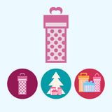 Set icons with  gift boxes, christmas tree with gift boxes, vector illustration Royalty Free Stock Images