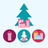 Set icons with  gift boxes, christmas tree with gift boxes, vector illustration Stock Photos